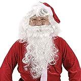 HOWAF Babbo Natale Parrucca e Barba Kit, Bianco Maschera Babbo Natale Costume Accessori Parrucca e Barba Occhiali Babbo Natale Adulto Uomo