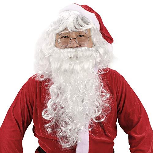 HOWAF Weihnachtsmann Nikolaus Perücke und Bart Set mit Einer Brille, Weihnachtsmann Perücke und Bart Erwachsenen Santa Claus Cosplay für Herren Weihnachtsmann Nikolauskostüm deko zubehör