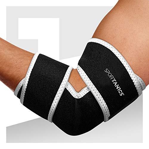 sportanics® Ellenbogenbandage mit Klettverschluss - Stabilität & Support beim Sport, Vorbeugend gegen Tennisarm, Ellenbogenschoner Bandage für Damen und Herren