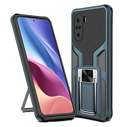 Compatible for Xiaomi Redmi K40/K40pro/K40pro+/11X pro/F3 Case,xiaomi Redmi K40 Case Military Grade Phone Case,Magnetic Sheet Two-Way Stand Shockproof Heavy Duty Protective Case,Cyan
