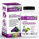 Renew Actives Optimized Resveratrol Supplement: 600mg Natural Resveratrol Complex Supplements with 50% Trans Resveratrol - High Antioxidant Support for Heart and Immune Health - 60 Vegan Capsules