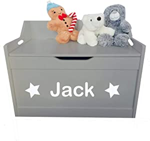 Little Secrets Gifts Kids Grey Wooden Toy Storage Box  Star Design Personalised Name