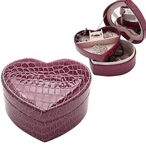 lffopt Cajas para Joyas Accesorios de joyería Caja de joyería con diseño de cocodrilo Anillo Caja de Almacenamiento Caja de joyería Caja de Joyas de Cuero Purple
