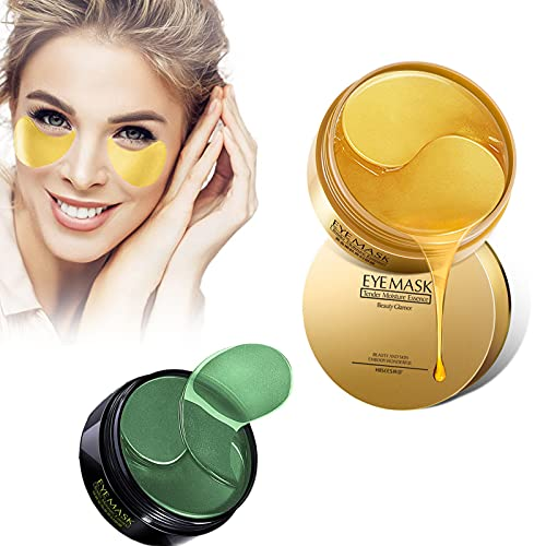 HGFG 30 Pairs Under Eye Collagen Patches Eye Masks with 24K Gold, Seaweed Eye Mask, Under Eye Gel Pads for Dark Circles and Puffiness, Anti-Wrinkle Moisturizing (Gold+Green)