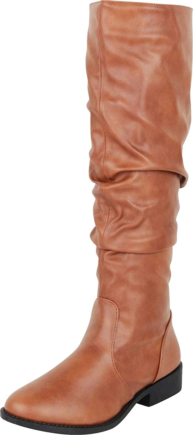 Cambridge Select Women's Slouch Chunky Low Heel Knee-High Boot
