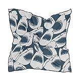 ALARGE - Bufanda cuadrada de seda, diseño de tiburón, diseño de tiburón, ligero, suave, pañuelos, bufandas envolventes para mujeres y niñas