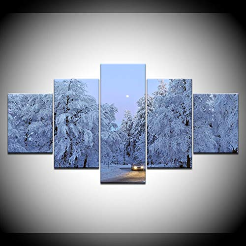 KJLTLD Canvas Prints - Snowy forest path - 150x80cm/60x32inch Nonwoven Flat Wall Decoration Wall Living Room - 5 Pieces - Art Prints - Ready to Hang - DA72891FA