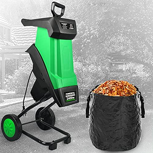 DJLOOKK Trituradora eléctrica portátil con Ruedas, trituradoras y trituradoras de Madera para jardín, Alta Potencia de 2400 W y Gran Capacidad de 50 l, trituradora de Hojas de Ramas,10M Power Line