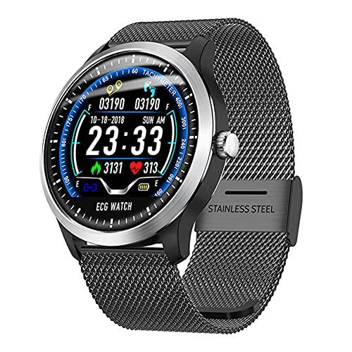 LSQ 2020 Nuevo N58 Smart Watch ECG PPG Ritmo cardíaco Sphygmomanómetro SmartWatch Pedómetro Deportivo Pulsera Fitness Reloj de Mujeres para Hombres,A