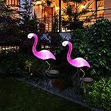 Maygone Solarbetriebene Flamingo-Form Rasenlampe Gartendeko Solarleuchten Wasserdicht LED Lampen für den Außenbereich Garten Deko Pflock Beleuchtung