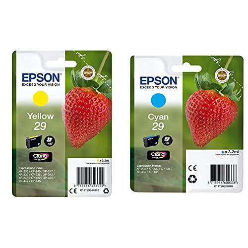 Epson Claria Home 29 - Cartucho de tinta estándar de 3,2 ml, paquete estándar, color cian válido para EPSON Expression Home + C13T29844022 - Cartucho de tinta
