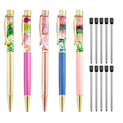 PASISIBICK Liquid Floral Ballpoint Pens for Gift,Fancy Metal Unique Flower Set