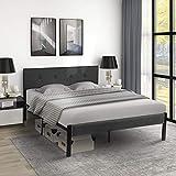 Vikiullf Platform Metal Bed Frame with Upholstered Headboard& Footboard (Dark Gray, Queen)