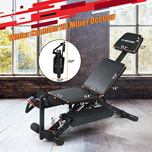 MaxKare Weight Bench Adjustable Workout Bench for Home with Elastic Rope System for Arm Leg Extension Curl Incline/Decline Foldable Bench/Rope Intensity Can Replace Dumnbells 8-40lbs