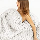 Hot-Bed Chunky Knit Throw Sofá Manta voluminosos Manta de Punto Gigante Mantas de Lana a Mano de Punto Línea Gruesa Sofá Manta Cálida de Yoga Regalos de Decoración,A,(100 * 200cm)