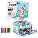 2020 New 3D Coloring Puzzle with 12 Watercolor Pens, DIY Art Drawing Creative Toys for Kid Toddlers Boys Girls, Best Painting Crafts Kit Birthday Gift Age 6 7 8 9 10 11 12 13 Year Old(Ice Cream Room)