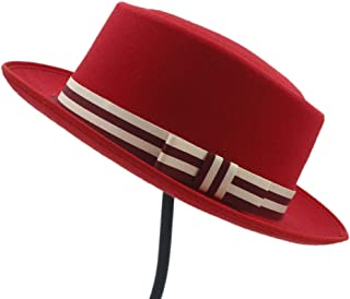 Women's Flat Homburg Fedpra Hat Winter Autumn Elegant Hat Wool Boater Hat with Punk Belt Tocados Invitada Boda (Color : Red, Size : 56-58CM)