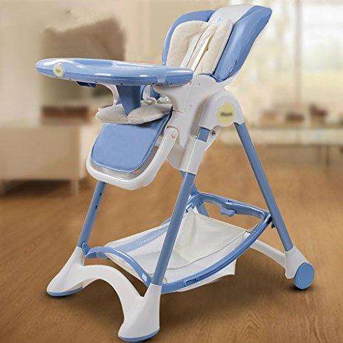 HGNbb La Silla Alta Plegable del bebé de múltiples Funciones, Portable Azul...