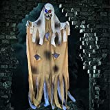 Halloween Decorations Outdoor 5.8 Ft Halloween Ghost Hanging Decorations with Flashing Eyes, Scary Halloween Skeleton Haunted House Prop Decor Party Hanging Creepy for Home Yard Outside Indoor Decor