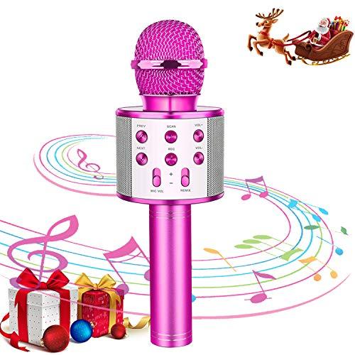 Kids Karaoke Microphone Wireless Bluetooth Mic Handheld Children Toy Microphone Speaker Music Singing Machine Suitable for Home Party Kid Birthday KTV Christmas Festival Gift (Purple)