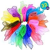 Set mit 32 quadratischen Kunstseide Schals - 16 verschiedene Farben - Perfekt für Gymnastik Geschicklichkeit Square Tanzgruppen Jonglieren - Sinnesspiel -ideale Aktivität in Innenräumen für Kinder