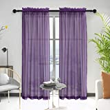 Anjee 84 Inch Sheer Curtains for Bedroom with Rod Pocket Purple Textured Semi Window Drapes 2 Panels, 52 x 84 Inches
