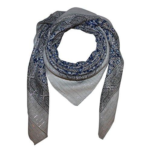 Superfreak® Baumwolltuch Indisches Muster 1 Silber Lurex - Tuch - Schal - 100x100 cm - 100% Baumwolle Farbe: weiß