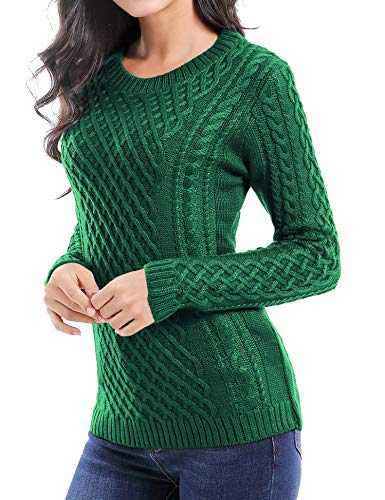 v28 Women Crew Neck Knit Stretchable Elasticity Long Sleeve Sweater Jumper Pullover (Medium, Green)