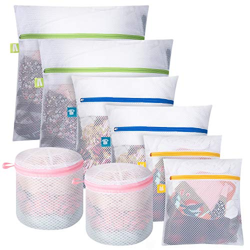 DOMIES 8 PCS Mesh Laundry Bags for Delicates Lingerie Bags for Laundry Washing Bags with Durable Zippers Garment bags for Washing Machine Socks Underwear Bra Travel Storage Organize Bag