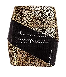 Black/Gold Sequin Mini Skirt