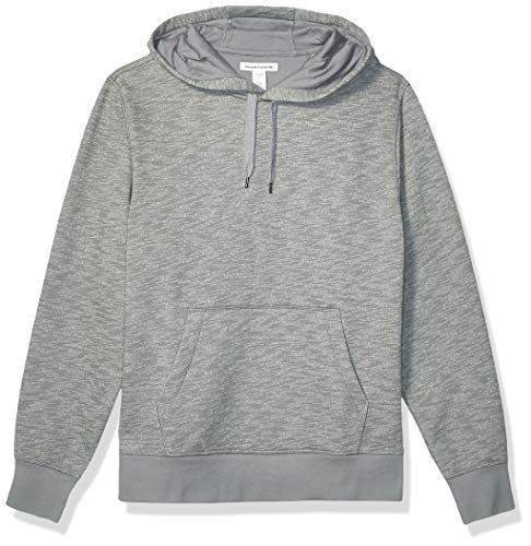 Amazon Essentials Men's Hooded Fleece Sweatshirt, Light Grey Space-Dye, Medium