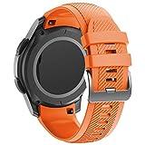 ANBEST Pulsera de Silicona Compatible con Gear S3/Galaxy Watch 46mm Correa, Pulsera de Repuesto de Sin Costura Adecuado para Gear S3 Frontier Smart Watch (Naranja)