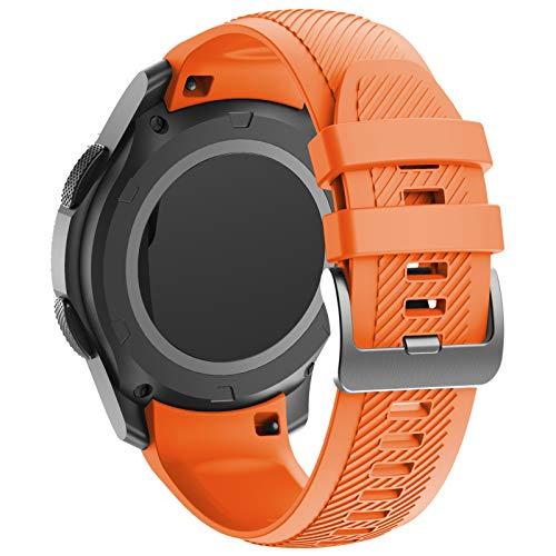 ANBEST Armbänder Kompatibel mit Gear S3/Galaxy Watch 46mm Armband Silikon Nahtlose Verbindung Ersatzarmband für Gear S3 Frontier Smart Watch, Orange