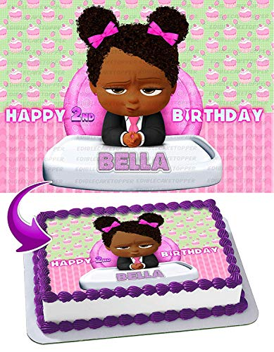 African American Girl Boss Baby Edible Image Cake Topper Party Personalized 1/4 Sheet