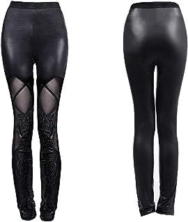 Punk Rave Women's Gothic Faux Leather Leggings Steampunk Mesh Patchwork Leggings Black Pencil Pants