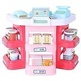 Toddmomy Supermercado Cajero Playset Miniatura de Plástico Escáner Calculadora Modelo de Comida Juguete Foto Prop Restaurante Tienda de Comestibles Dinero Jugar Juego para Niños Pequeños