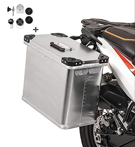 Maletas laterales aluminio Bagtecs 1 x 34l + Kit de montaje para portamaletas de 16mm para BMW F 650/ ST/GS/GS Dakar/CS Scarver, F 700 GS, F 800 S/ST/R/GT/GS/GS Adventure, G 310 GS/R, G 450 X