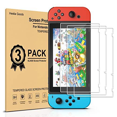 [3 Stück] Schutzfolie für Nintendo Switch, Panzerglas Folie Displayschutzfolie für Nintendo Switch[Anti Kratzer][Hülle Freundllich][Bläschenfrei][HD Clear][9H Härt][2.5D Runde Kante]