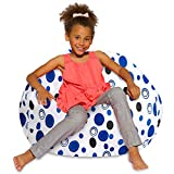 Posh Beanbags Bean Bag Chair, Large-38in, Canvas Bubbles Blue and White