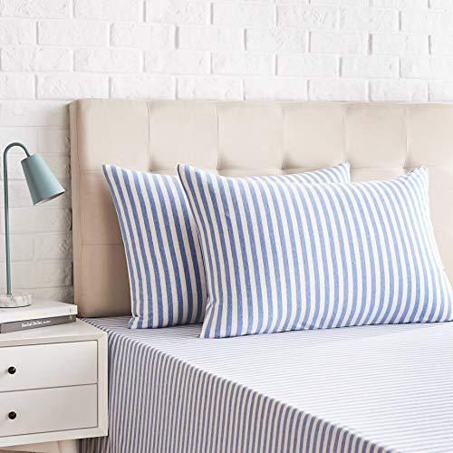 AmazonBasics - Juego de 2 fundas de almohada, diseño de rayas, 50 x 80 cm, Azul