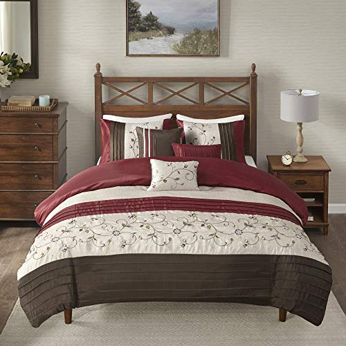 Madison Park Serene Duvet Cover King/Cal King Size - Red , Embroidered Duvet Cover Set – 6 Piece – Faux Silk Light Weight Bed Comforter Covers