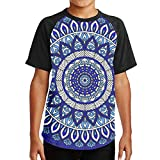 WoodWorths Blue Mandala Seamless Pattern Teenager Junior Boy's Girl Youth Short Sleeve T Shirt Tee Sports Shirts(XL,Black)