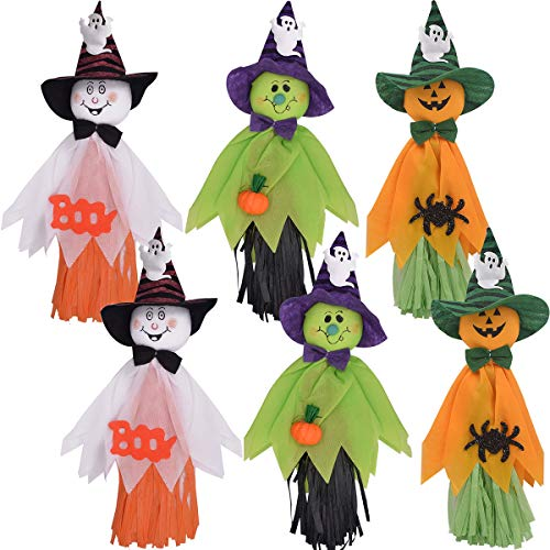 ZSWQ Halloween Colgante Fantasma Calabaza Muñecas Decoración Colgante de Pequeños Fantasmas, los Elementos Decorativos de Calabazas, Fantasmas y arañas, para el hogar, Barras,KTV,6Pcs