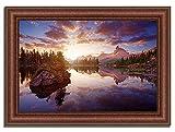 Tangletown Fine Art 37' x 52' Sunrise On Lago Di Federa Framed Photograph Print