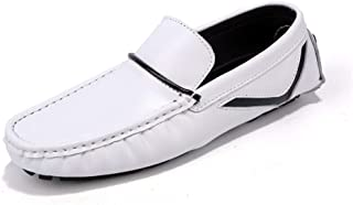 LFSP Mens Penny Loafers Boat Shoes Driving Loafer for Men Boat Moccasins Slip On Style Microfiber Leather Splicing Comfortable Round Handmade Flats A (Color : White, Size : 42 EU)