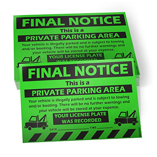 "No Parking Violation Stickers Hard to Remove (Green) - 10 Pack Final Notice Towing Tags for Illegally Parked Vehicles in Your Lot - Super Sticky Car Permit Notices for Bad Parking 8"" x 5"" by MESS"
