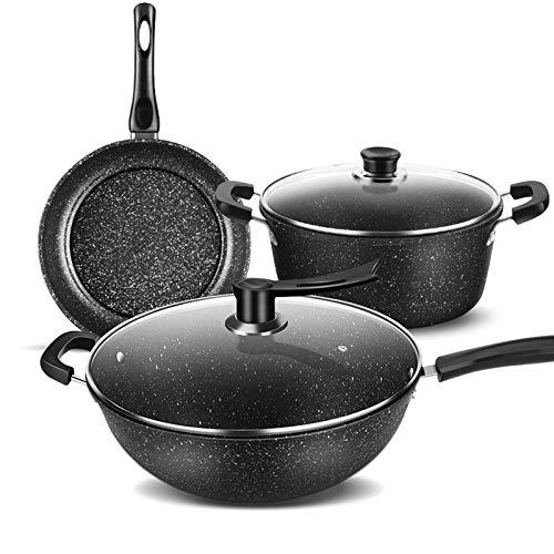 BKWJ sartenes, Juego de utensilios de cocina antiadherente, sopa de sartén para ollas Pot- Juego de 3 piezas