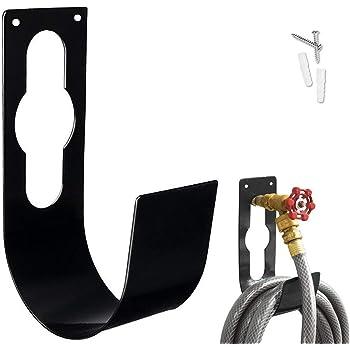 Garden Hose Hanger Wall Mount Heavy Duty Hose Holder Hook Fit to 50ft 75ft 100ft 150ft Expandable Hose (Large, Black)