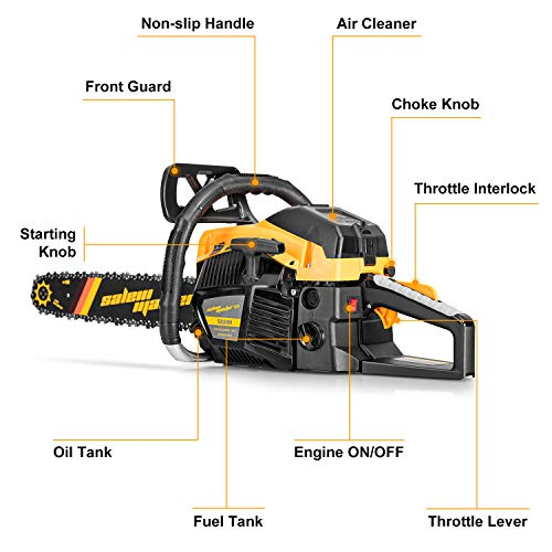 SALEM MASTER 5820H 58CC 2-Cycle Gas Powered Chainsaw, 18-Inch Chainsaw, Handheld Cordless Petrol Gasoline Chain Saw for Farm, Garden and Ranch