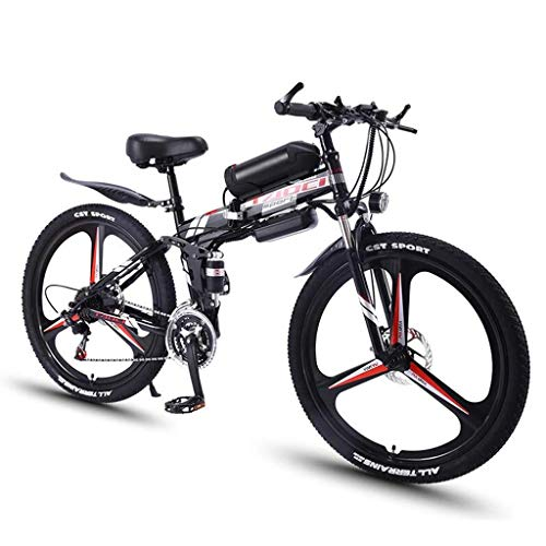 26'' Electric Bike Foldable Mountain Bicycle for Adults 36V 350W 8AH Removable Lithium-Ion Battery E-Bike Fat Tire Double Disc Brakes LED Light (Color : Black)